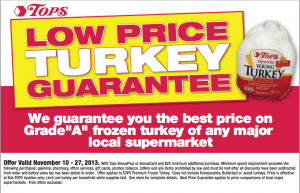 Local Turkey Prices Comparison – Tops, Walmart, Wegmans, Aldi + New $1 Snap Rebate on Turkey!