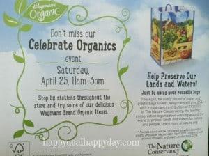 Reminder:  Wegmans Organic Event TODAY 4/25/15!  Organic Item Coupons + Recycle Plastic Bags for Reusable Bag!