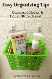 Frugal Organizing Tip:  Command Hooks & Dollar Store Basket!