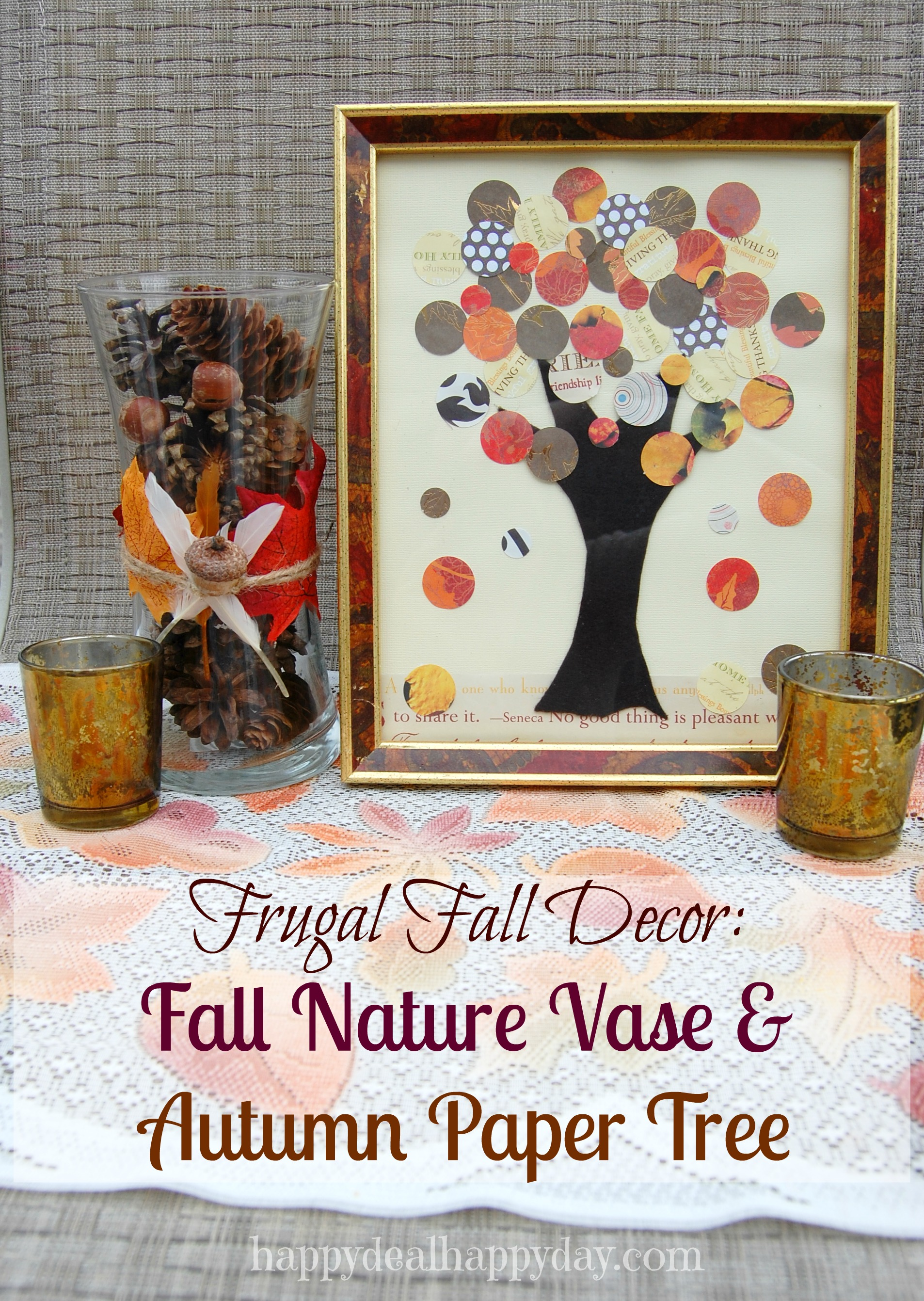 Frugal Fall Decor:  Fall Nature Vase & Autumn Paper Tree