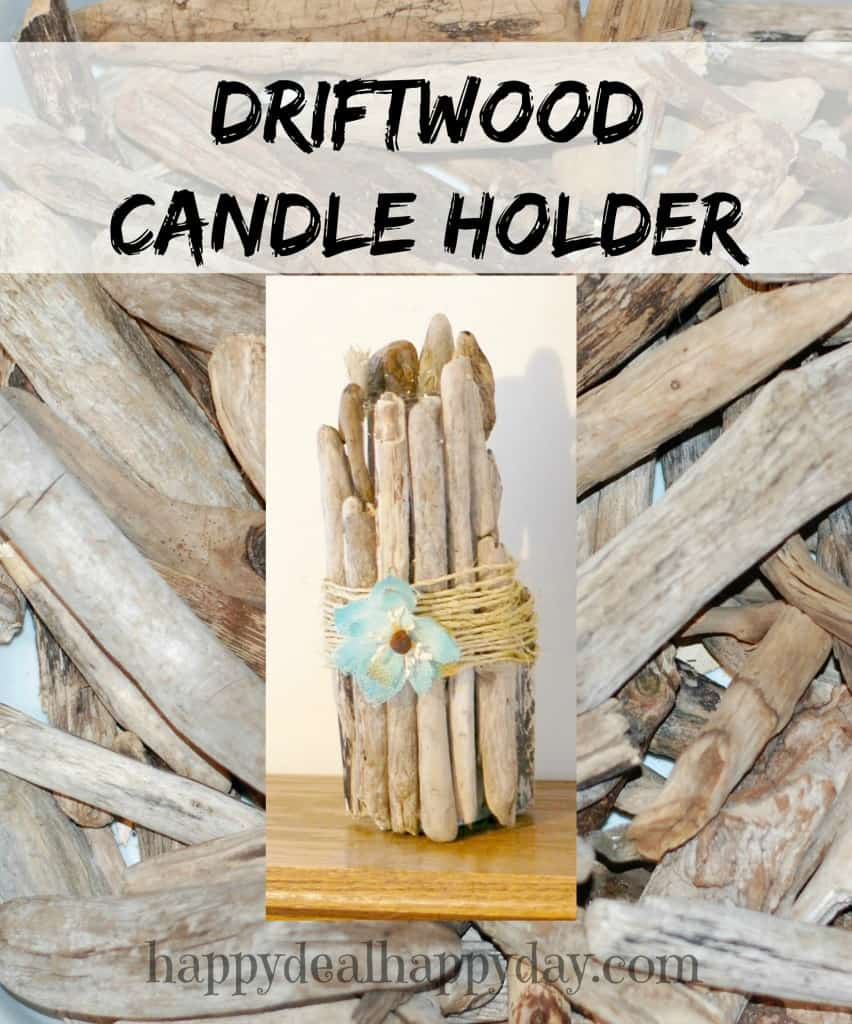 Easy Frugal Craft | Driftwood Candle Holder - love the jute in the middle.  So easy with batter tea lights!