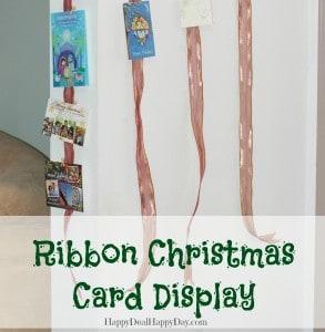ribbon christmas card display horzontal
