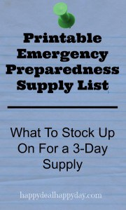 Printable Emergency Preparedness Supply List – What To Stock Up On For a 3-Day Supply