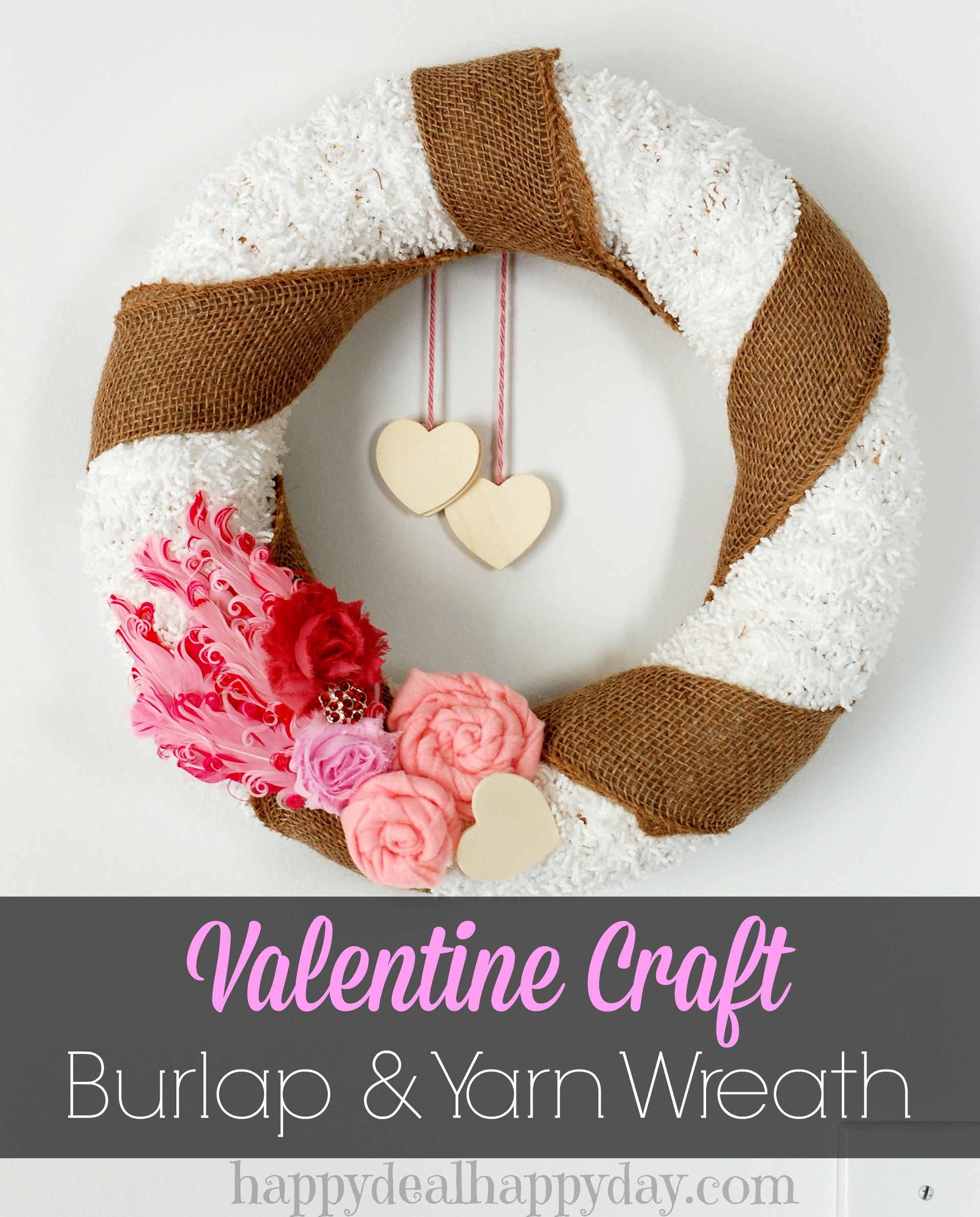 Valentine Wreath & Valentine Craft | Valentine Yarn and Burlap Wreath. So cute! I put it up right after I took down the Christmas wreath in my dining room.