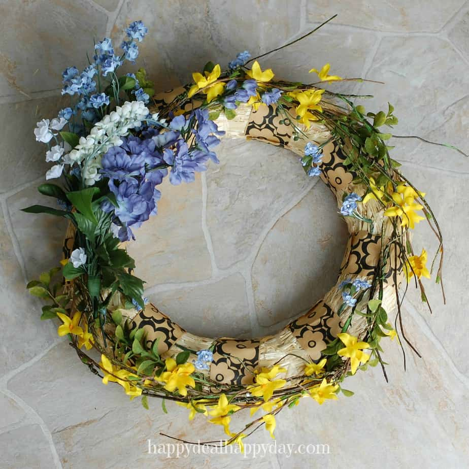 Diy spring wreaths with forsythia burlap happy deal happy day spring wreaths izmirmasajfo Gallery