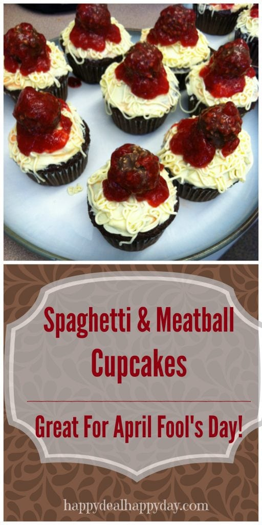 Spaghetti & Meatball Cupcakes - great for the kids on April Fool's Day!