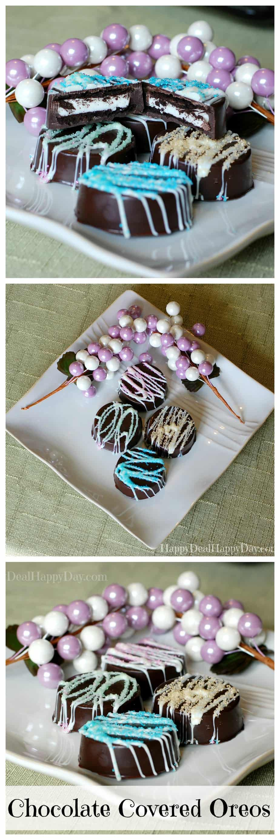 chocolate covered oreos - spring colors! These are wonderful as an Easter dessert, Mother's Day gift idea, or just a fun treat to celebrate spring!