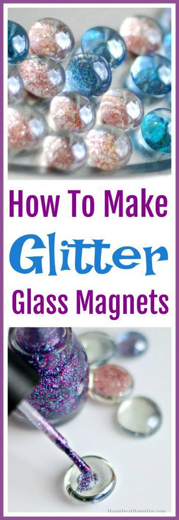 How To Make Glass Glitter Magnets #glitter #magnets #glassgems #dollarstore #dollartree