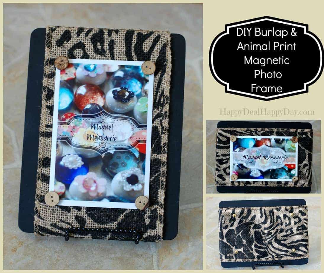Double Sided Photo Frame:  Burlap & Animal Print Magnetic Photo Frame