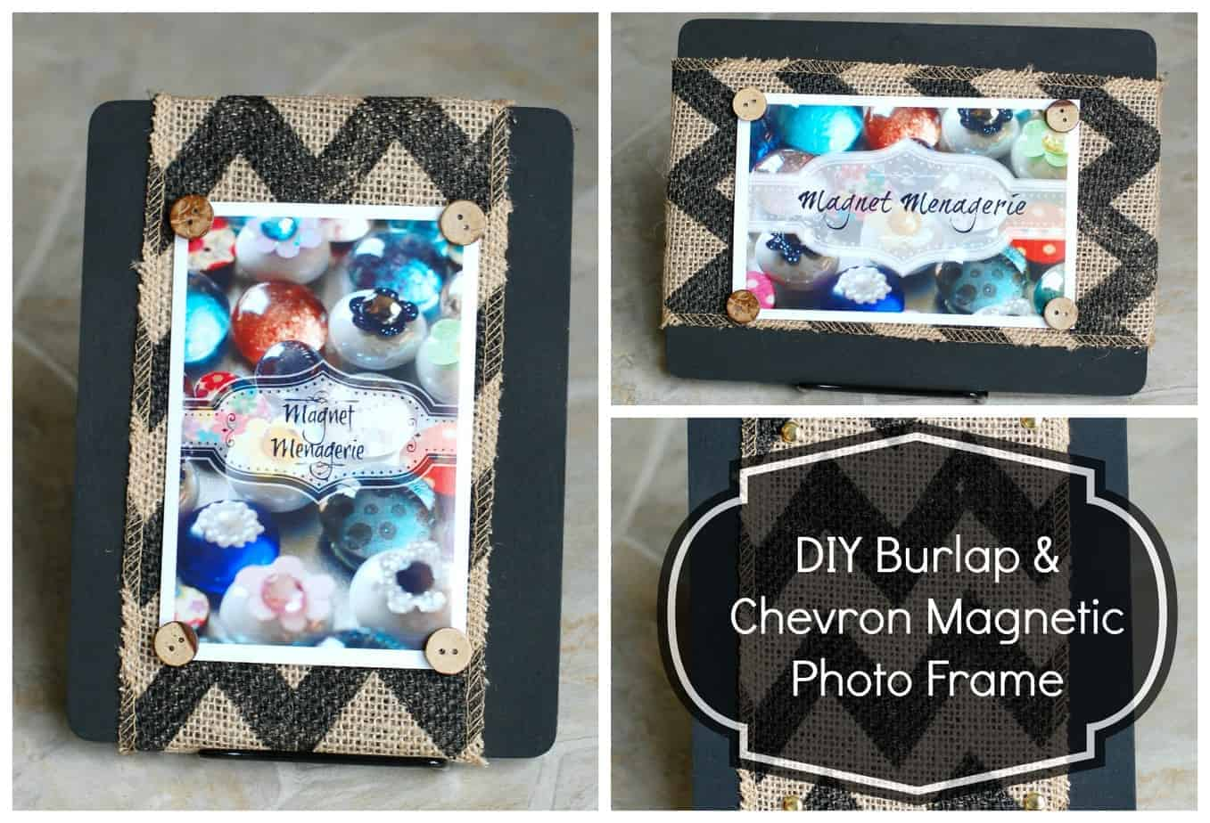 Double Sided Photo Frame:  Burlap & Chevron Magnetic Photo Frame!