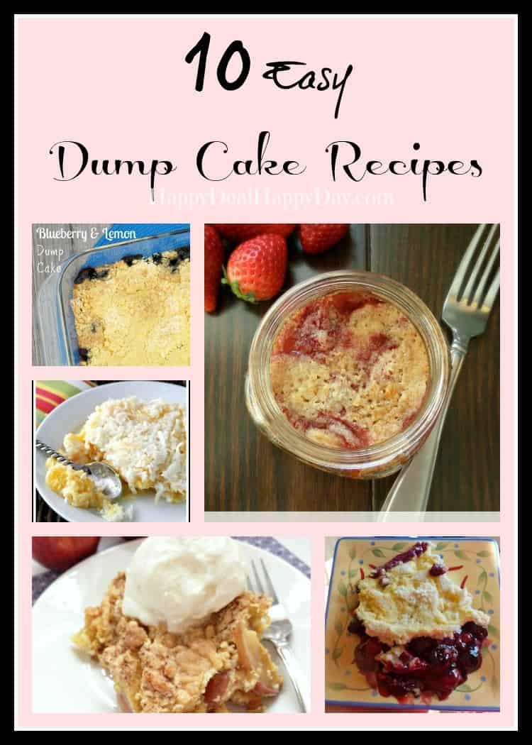 dump cake recipe collage