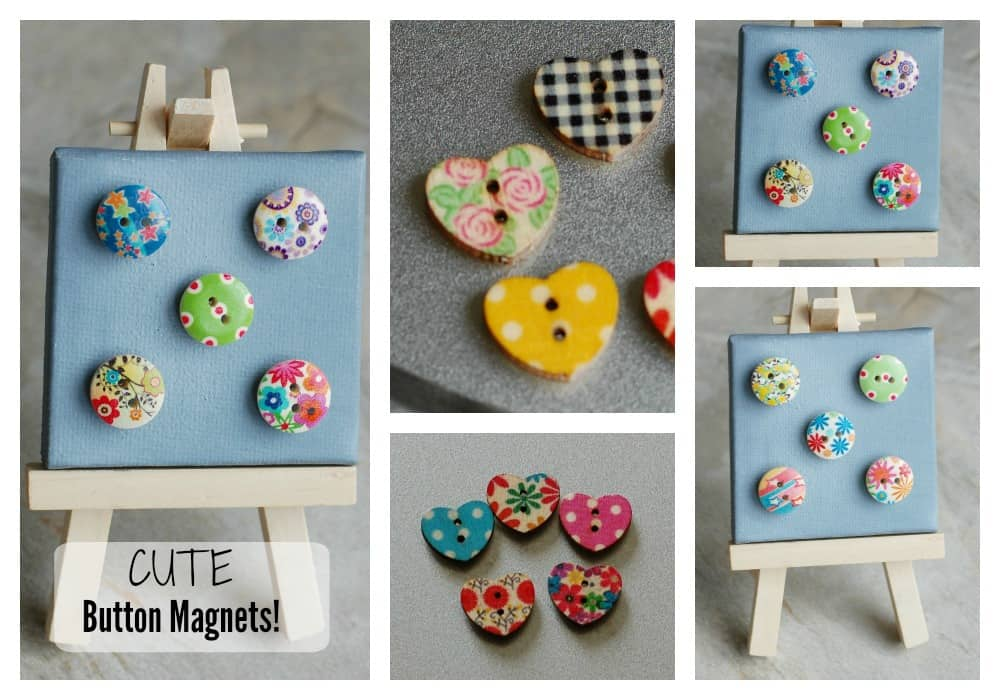 wooden button magnet collage text
