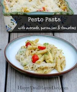 Pesto Pasta Recipe With Avocado, Parmesan, Romano & Tomatoes!