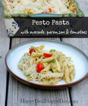 Pesto Pasta Recipe With Avocado, Parmesan, Romano & Tomatoes!