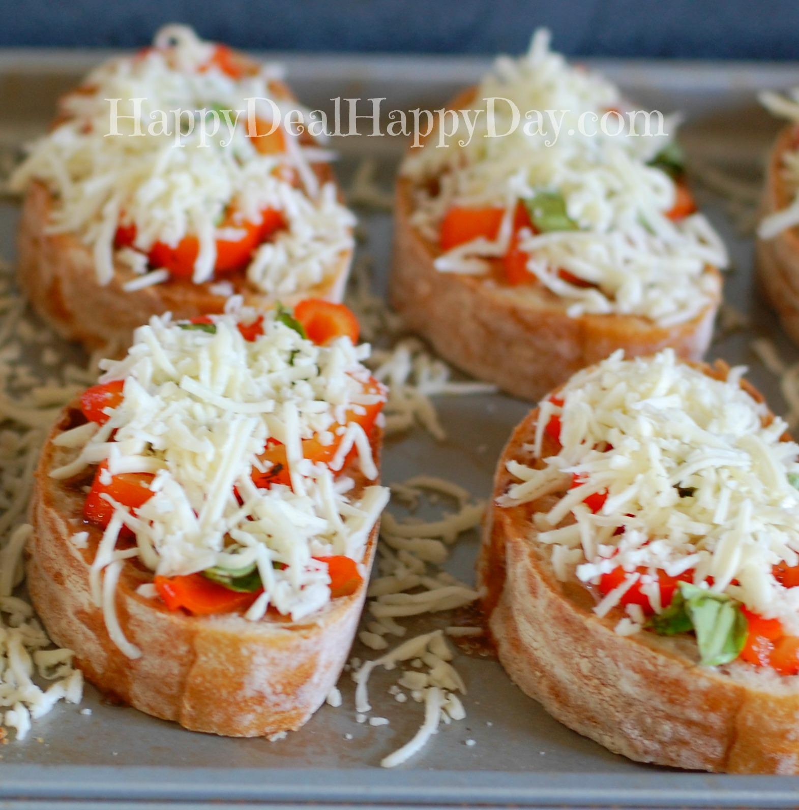 Easy Bruschetta Recipe - covered in mozzarella cheese