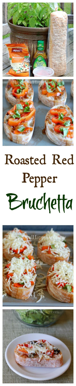 5 Ingredient Roasted Red Pepper Bruchetta!