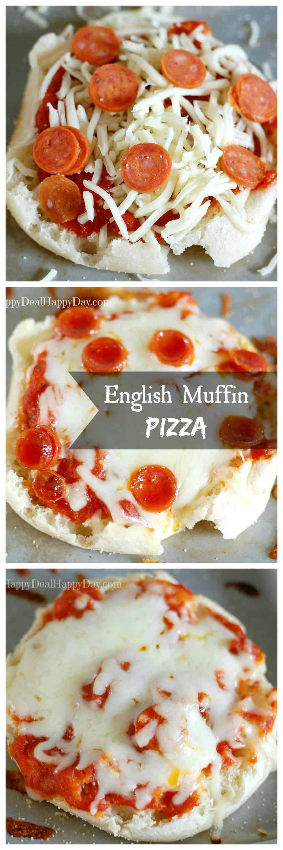 english muffin pizza collage