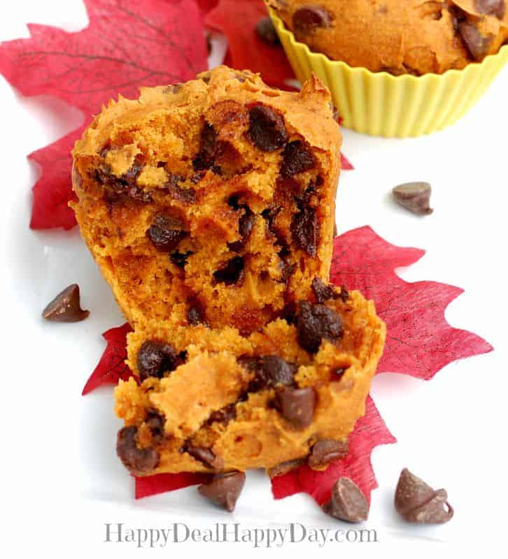 gluten free chocolate chip pumpkin muffin inside