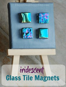 iridescent glass tile magnets text