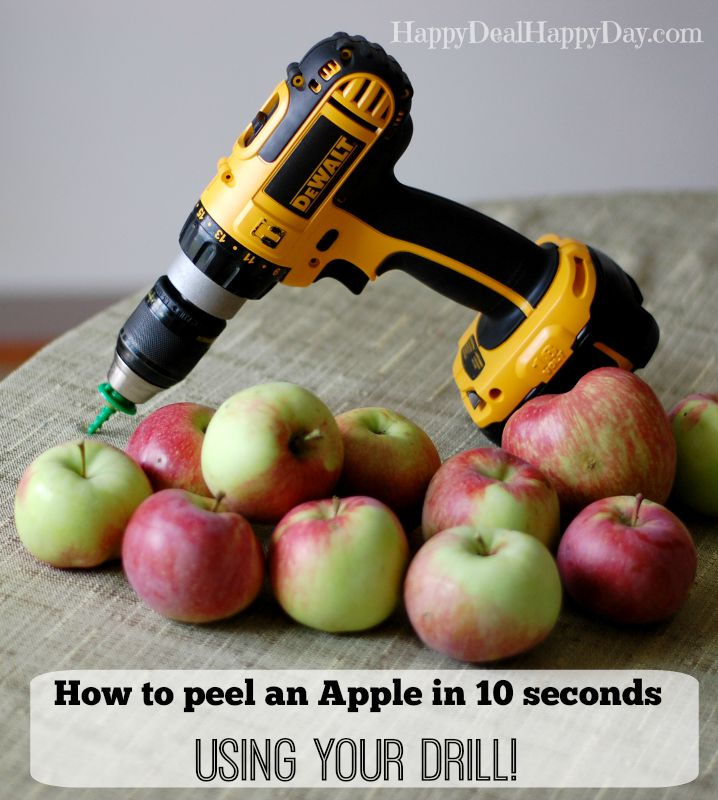 Watch a 19 second video to see how easy it is to use your drill to peel an apple in about 10 seconds!!! I did this this year when we made apple sauce!! Totally cool kitchen hack!! happydealhappyday.com