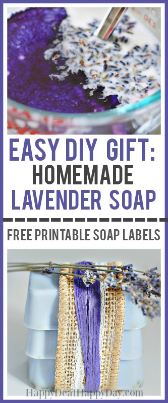 collage picture of making homemade lavender soap with text overlay