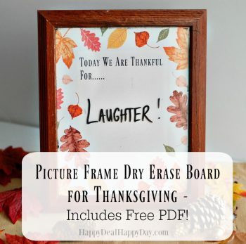 Picture Frame Dry Erase Board for Thanksgiving – Includes Free PDF!