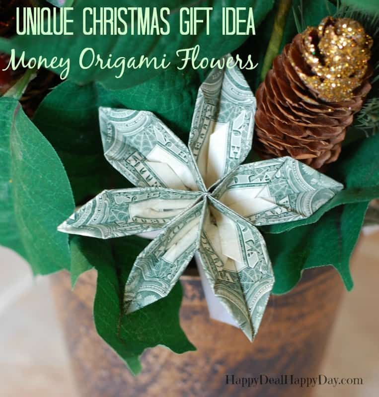 Unique Christmas Gift Ideas Poinsettias With Money Origami Flower