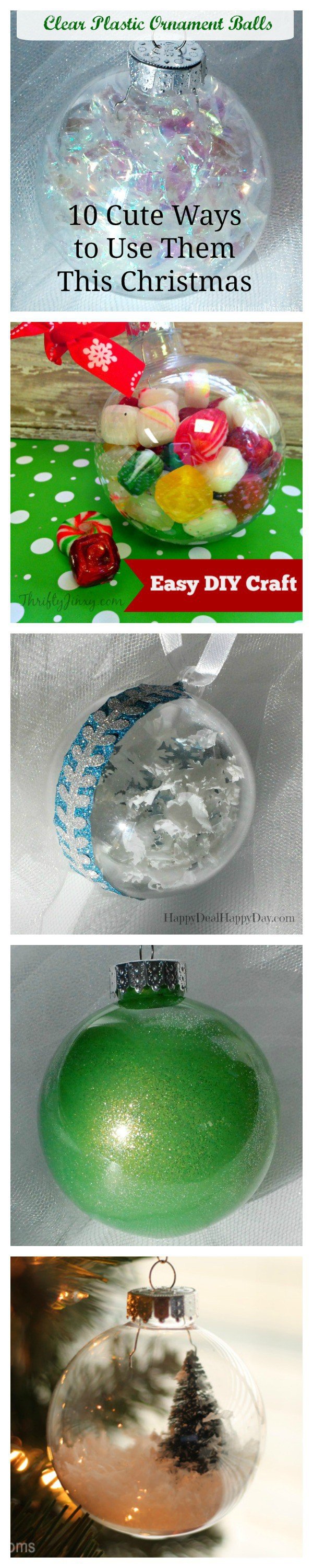 Clear Plastic Ornament Balls - 10 Cute Ways to Use Them This Christmas.  Many cute ideas in this post!   I love the variety of color in #3!  GO HERE to see them all:http://wp.me/pUbK5-t8N