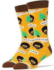 white elephant gift bob ross socks