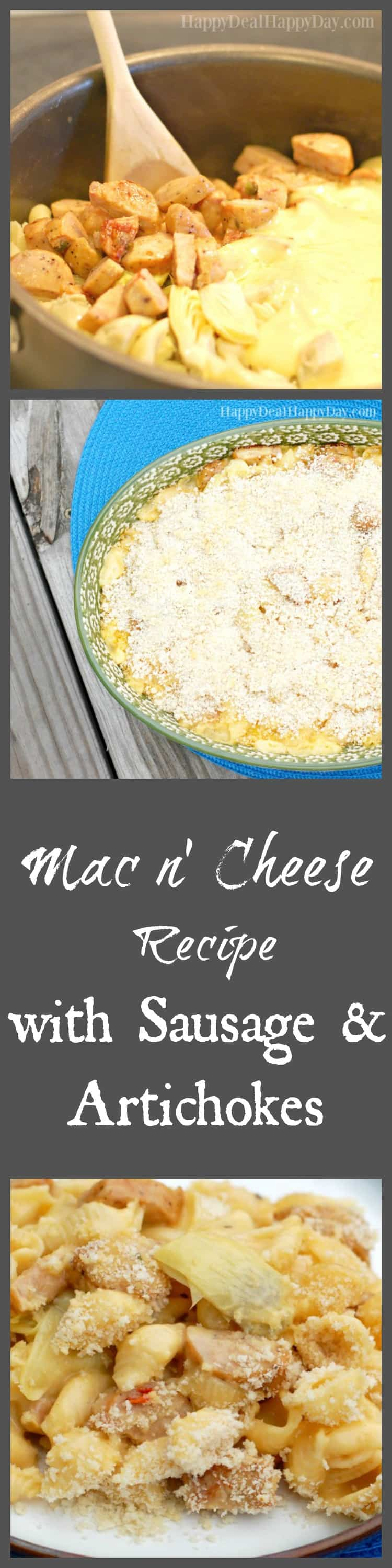 Mac N' Cheese Recipe with Sausage and Artichokes -seriously the BEST one pot comfort food mac n' cheese recipe! So so delicious - gotta pin this one!