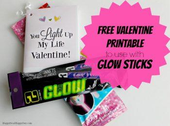 "Glow Sticks Free Printable Valentine Cards: ""You Light Up My Life Valentine"""