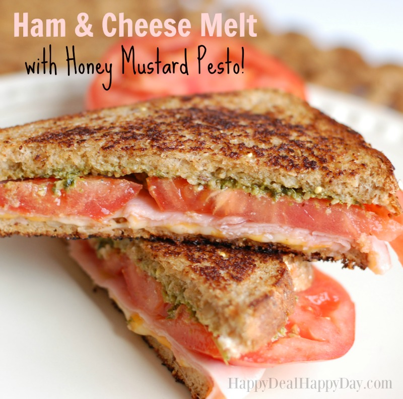 Ham and Cheese Melt with Honey Mustard Pesto Sauce!