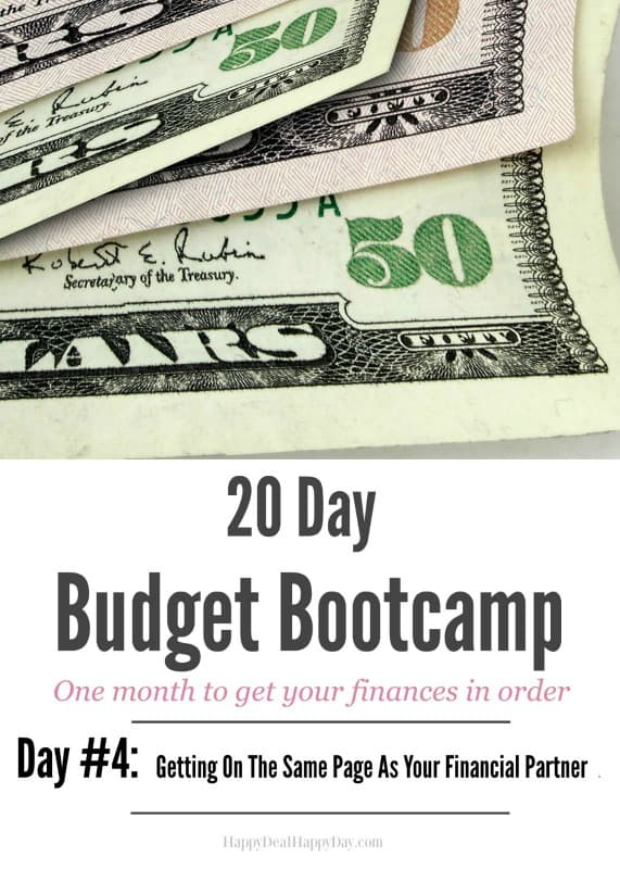 20 Day Budget Challenge: Day #4 Getting On The Same Page as Your Financial Partner - tips on how to decrease arguments about finances!