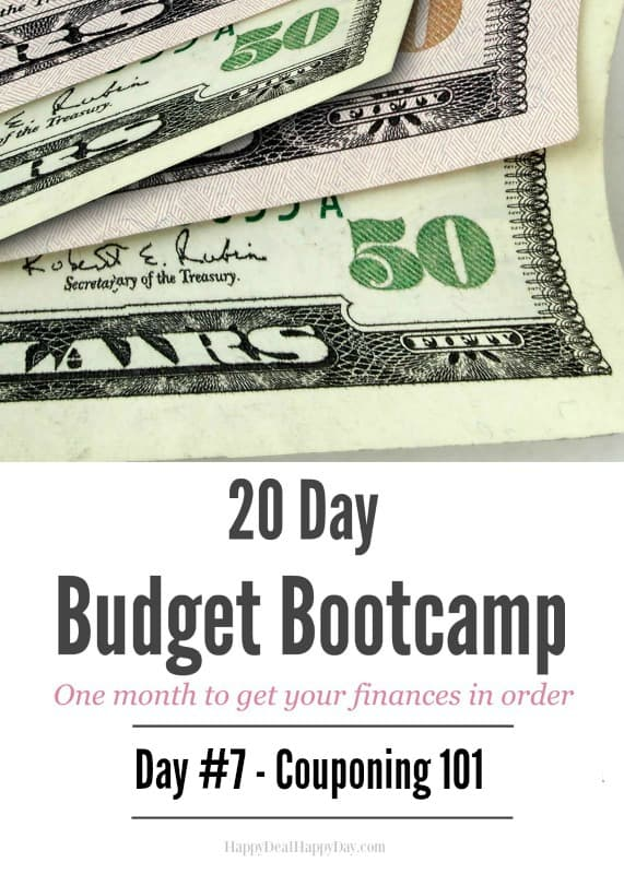 20 Day Budget Bootcamp:  Day #7 Couponing 101 - New to using coupons?  Read this to get started!  This is a realisitc approach so you aren't clipping every coupon and shopping at every store!