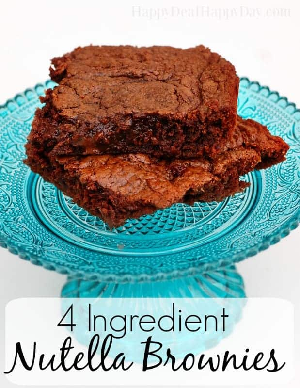 4 ingredient Nutella Brownies - never tried it this way with one bonus ingredient!