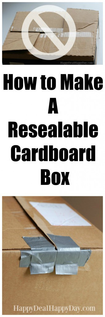 How To Make A Resealable Cardboard Box using duct tape - no more awkward folding of box corners to keep it closed!