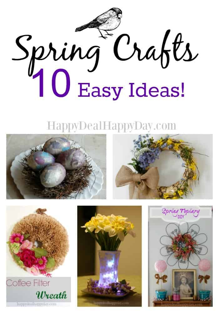 Spring Crafts - 10 Easy Ideas! Fun egg decorating ideas and some really cute wreaths too! #9 is very unique!