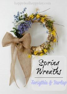 spring wreaths burlap and forsythia