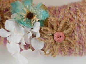 DIY Yarn Wreath with Twine Flowers