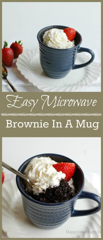 90 Microwave Brownie in a Mug - EASY recipe and SO YUMMY!!! happydealhappyday.com
