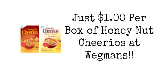 Honey Nut Cheerios for $1.00 at Wegmans with NEW $0.75/1 Coupon!