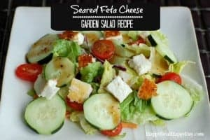 seared feta cheese garden salad recipe horizontal