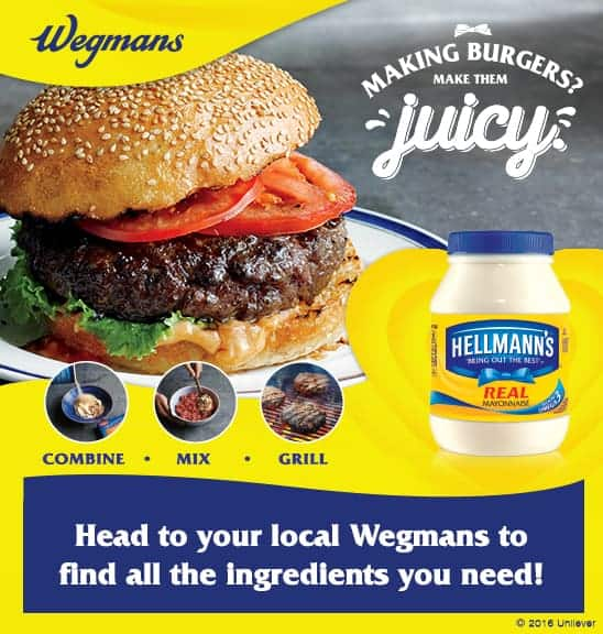$100 Wegmans Gift Card Giveaway + Juicy Burger Recipe  #MakeJuicyBurgers (+ NEW Hellmann's Coupon!)