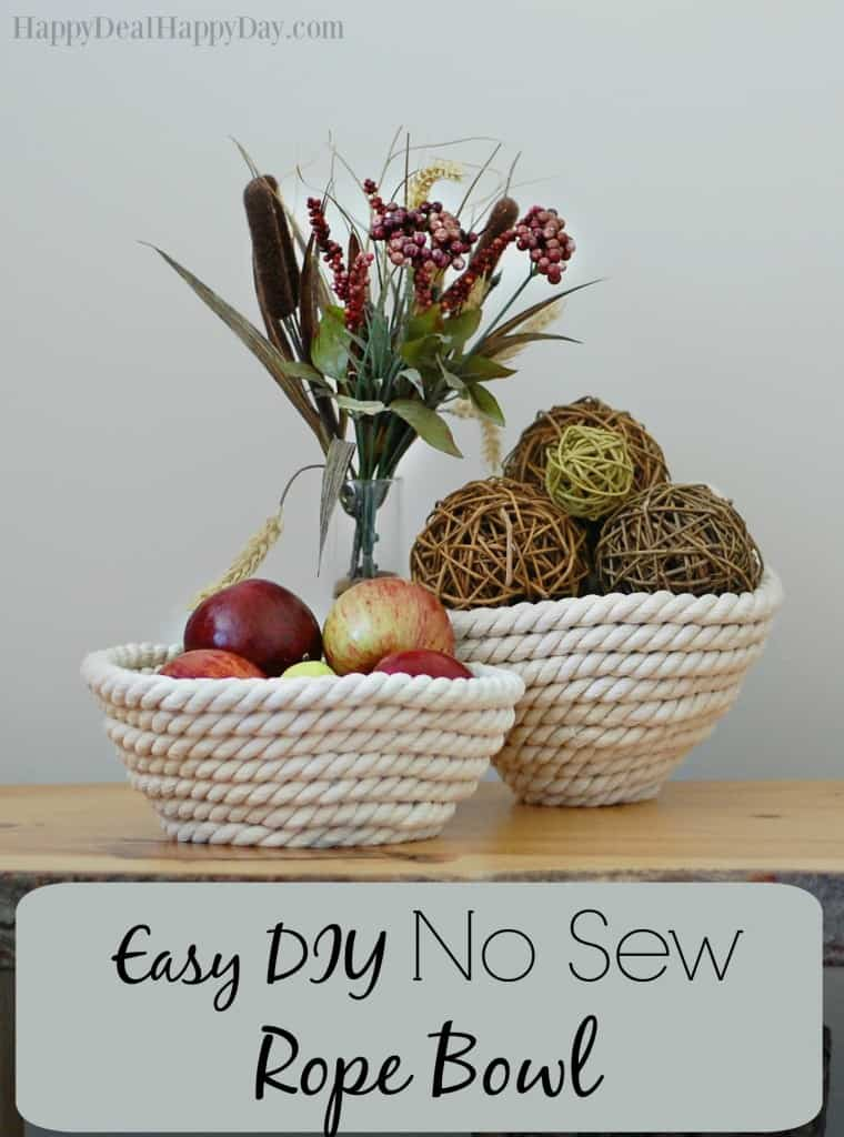 No Sew Rope Bowl - this is a step by step tutorial showing you how to make your own rope bowl with just 2 materials!