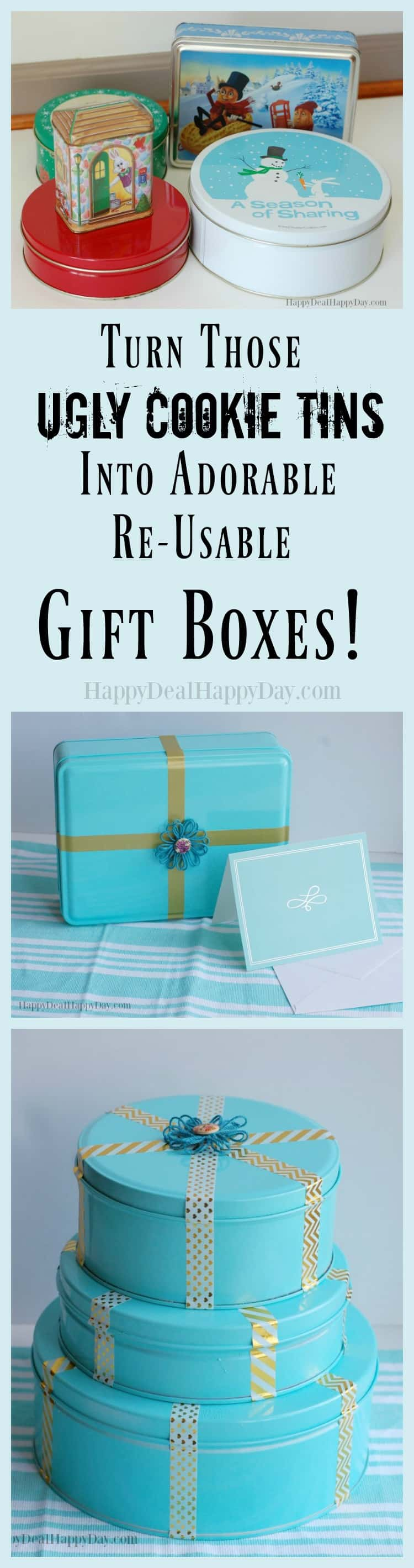 Turn Those Ugly Cookie Tins Into an Adorable Re-Usable Gift Box ...