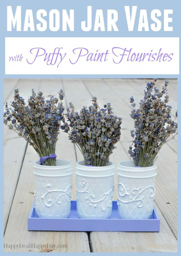 Mason Jar Vase With Puffy Paint Flourishes - it's amazing what you can do with a mason jar and some puffy paint!