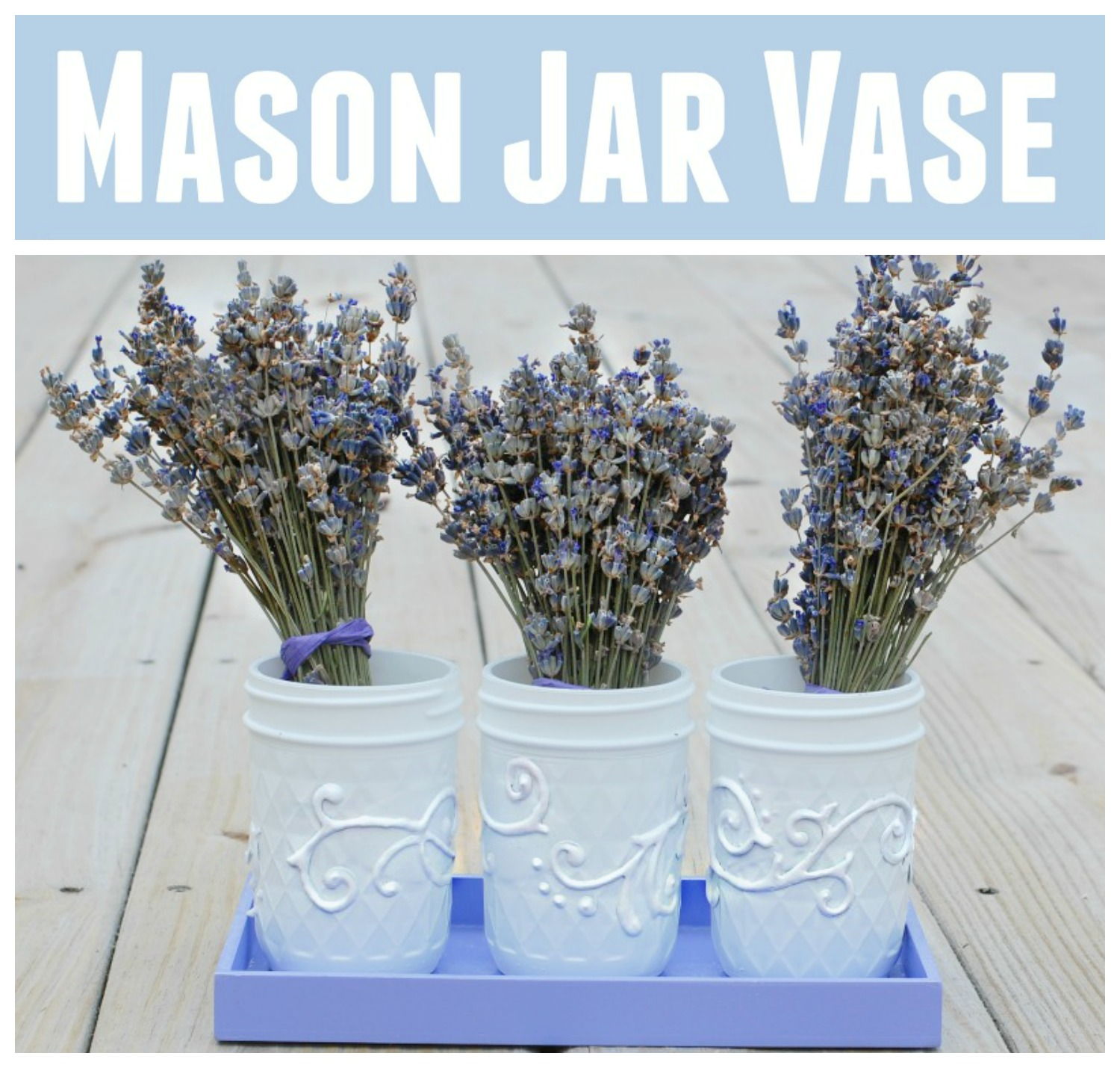 Mason Jar Vase With Puffy Paint Flourishes