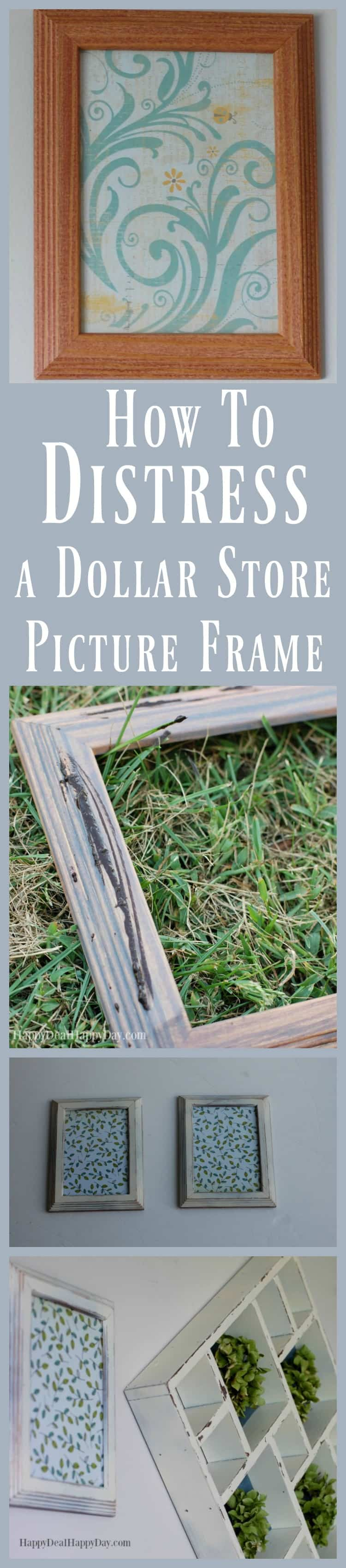 How to distress a picture frame from the dollar tree happy deal how to distress a dollar store picture frame get that rustic farmhouse look using just jeuxipadfo Image collections