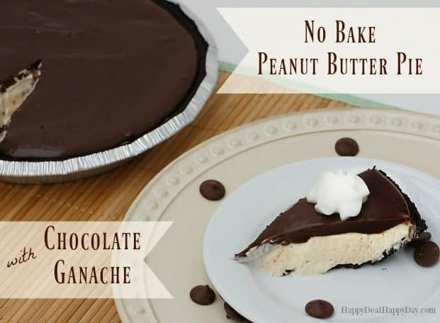 No Bake Peanut Butter Pie with Chocolate Ganache