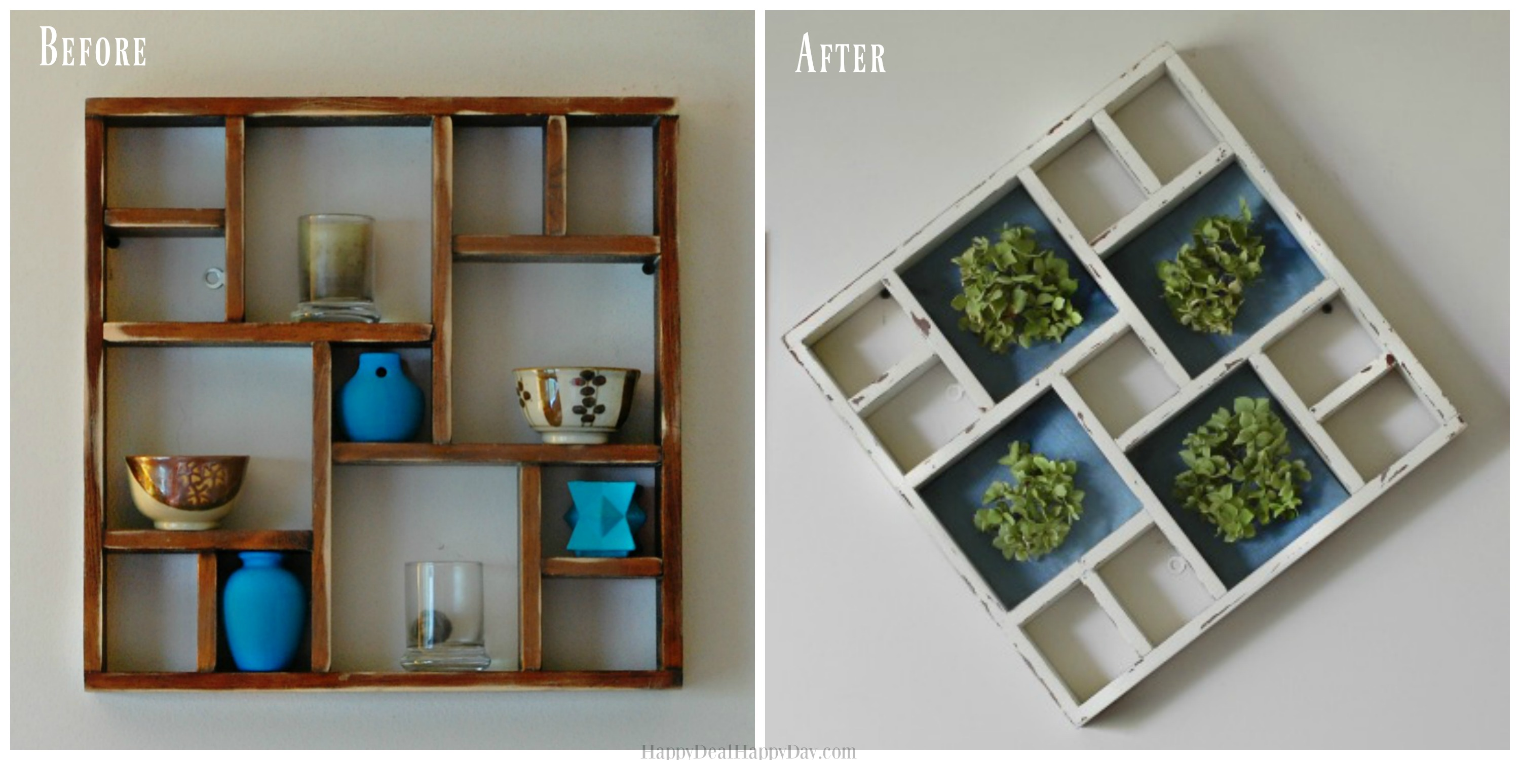 Frugal Decoration Ideas | Shabby Chic Display Shelf Makeover
